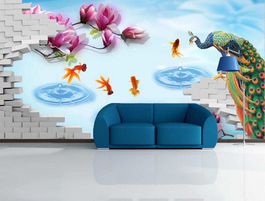 3D Pfau Teich Blaumen 9577 Tapete Wandgemälde Tapeten Bild Familie DE Kyra  | Großhandel  | Qualität zuerst  | Good Design