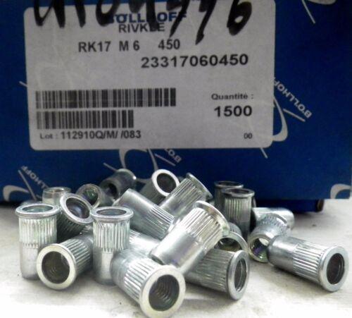 50 écrous a insert M6 sertir riveter BOLLHOFF Rivkle plus RK17 M6 450