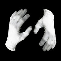 10 Pairs 100% White Cotton Marching Parade Formal Dress Gloves - Size Large
