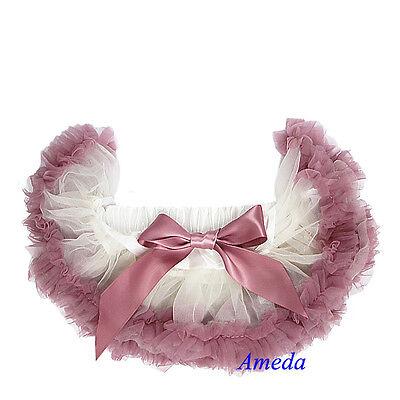 Newborn Baby Cream Ivory Dusty Pink Ruffles Pettiskirt Tutu Photo Prop NB-6M