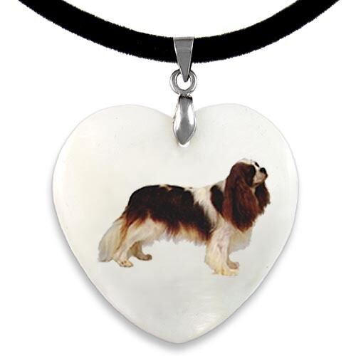 Cavalier King Charles Spaniel Dog Mother Of Pearl Heart Pendant Necklace PP252