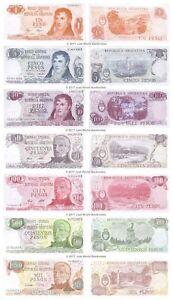 Argentina 1 + 5 + 10 + 50 + 100 + 500 + 1000 Pesos Set of 7 Banknotes 7 PCS UNC