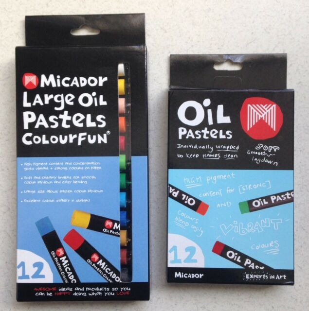 1 x 12pk Micador Large Oil  Pastels & 1 x 12pk Small Oil Pastels Sets BN
