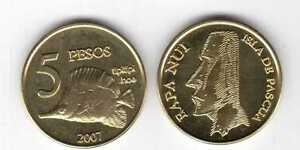 EASTER-ISLAND-5-PESO-UNC-COIN-2007-YEAR-FISH