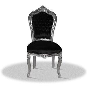 Barockstuhl-schwarz-silber-Stoff-edel-design-antik-repro-Esszimmer-Buero-Lounge