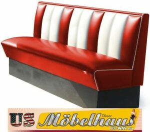 Hw 180 Red American Diner Bench Seating Furniture Usa Style Catering