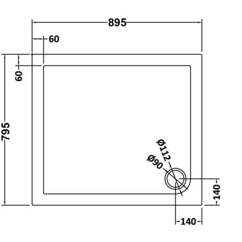 900x800x40mm Rectangle Shower Enclosure Tray Free Waste Trap NEXT DAY DELIVERY