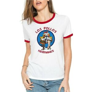 Funny-Los-Pollos-Hermanos-Women-039-s-T-Shirts-Cotton-Ringer-Short-Sleeve-Tee-Tops