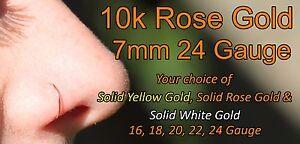 10k Solid Rose Gold Nose Ring Hoop Earring 24 Gauge 7mm Inner