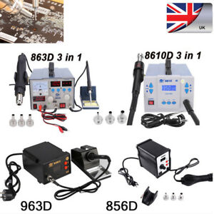3 in1 Soldering Rework Station 863D Solder Hot Air Gun Power Supply 220V UK Plug