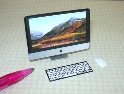 Miniature Silver Plastic 3-Piece Desktop Computer w//3-D Screen DOLLHOUSE 1:12
