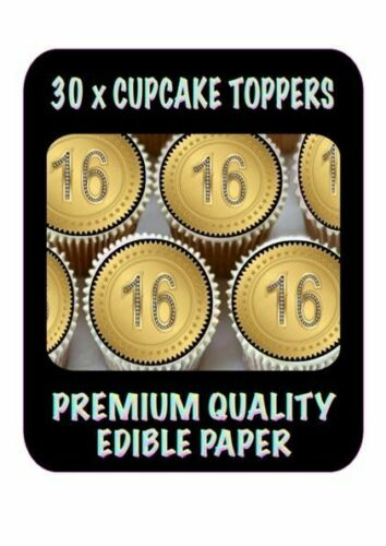 30 X STUNNING 16TH BIRTHDAY GOLD EDIBLE CUPCAKE TOPPERS PREMIUM RICE PAPER  663