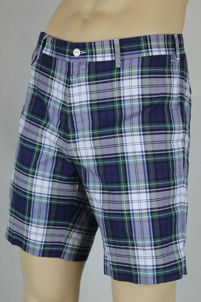 Polo Ralph Lauren bluee Green White Red Plaid Slim G.I. Fit Shorts NWT 38