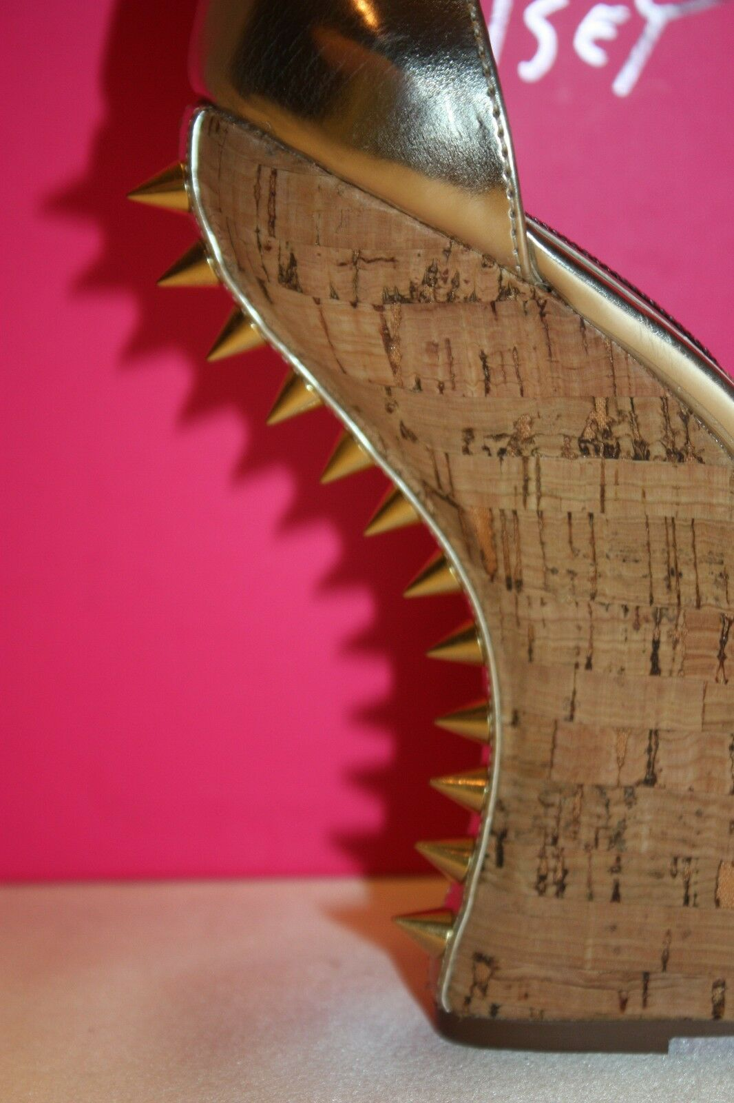 NEW NIB BETSEY JOHNSON Metallic Gold Patent Heel MORGANN Curved Spike Heel Patent Wedge  110 149fc4