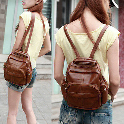 New Girl's Brown PU Leather Backpack Zipper Closures Mini-Satchels Handbag FP105