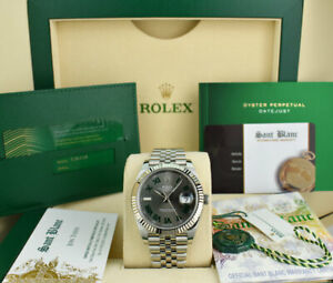 ROLEX-Mens-White-Gold-amp-Stainless-DateJust-41-Slate-Roman-CARD-126334-SANT-BLANC