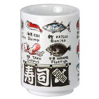 """Japanese Porcelain 4"""" H Yunomi Sushi Tea Cup Fish Kanji Print/ Made in Japan"""