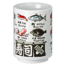 "Japanese Porcelain 4"" H Yunomi Sushi Tea Cup Fish Kanji Print/ Made in Japan"
