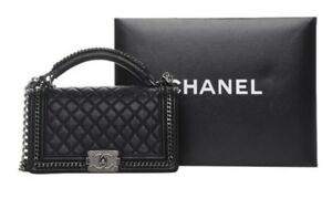 f6288099dab7 Chanel Top Classic Flap Boy Flapbag with Handle Black Calfskin ...