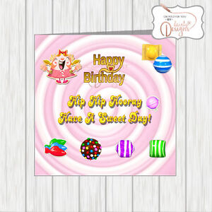 Candy Crush Birthday Card With Striped Candies Colour Bombs Lollipop