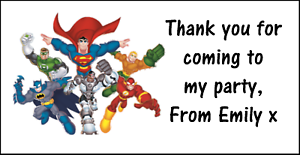 48x PERSONALISED MARVEL SUPERHERO BIRTHDAY STICKER LABELS THANK YOU