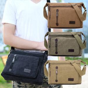 Retro-Men-039-s-Canvas-Shoulder-Messenger-Bag-Crossbody-Satchel-Travel-Man-039-s-Bags-AU