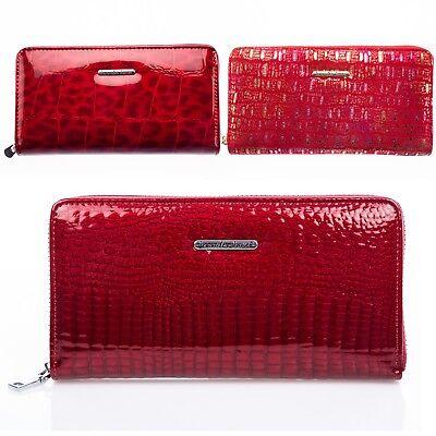 Damen Geldbörse Lackleder Geldbeutel Tiermuster Portemonnaie RFID-Schutz Börse