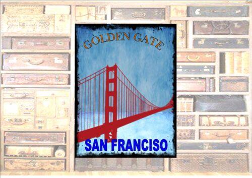 San Francisco USA Travel Sticker Luggage Sticker Metal Wall Plaque