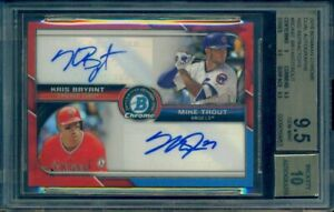 2015-Bowman-Chrome-Mike-Trout-Kris-Bryant-Red-Refractor-Dual-Auto-5-BGS-9-5-10