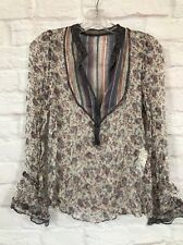 ZARA BASIC women XS peasant sheer blouse top boho hippie floral retro 100% silk