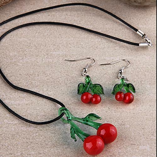 Cherry Lampwork Glass Necklace Pendant + Earrings Set