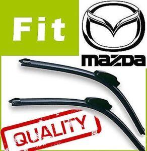2-Front-Aerodynamic-Style-Windscreen-Wiper-Blades-Retro-Fit-FLAT-BEAM-for-MAZDA