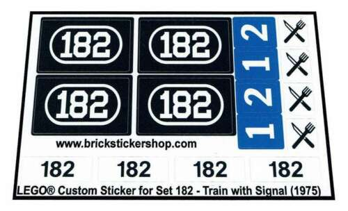 Train with Signal Precut Custom Replacement Stickers for Lego Set 182 1975
