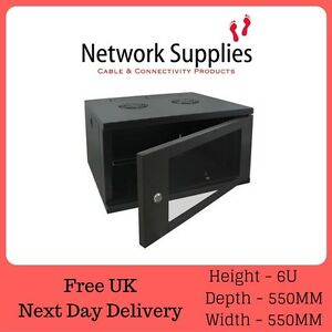 6U-19-034-550mm-Deep-Wall-Mounted-Data-Comms-Cabinet-Patch-Panel-PDU-Network