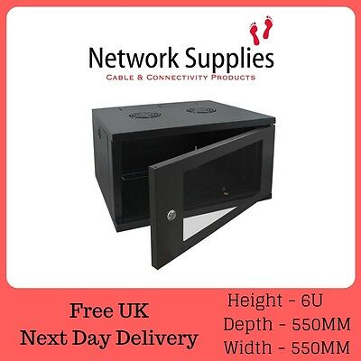"Rackmount Cases & Chassis Rackmount Cabinets & Frames 6u 19"" 550mm Deep Wall Mounted Data Comms Cabinet Patch Panel Pdu Network"