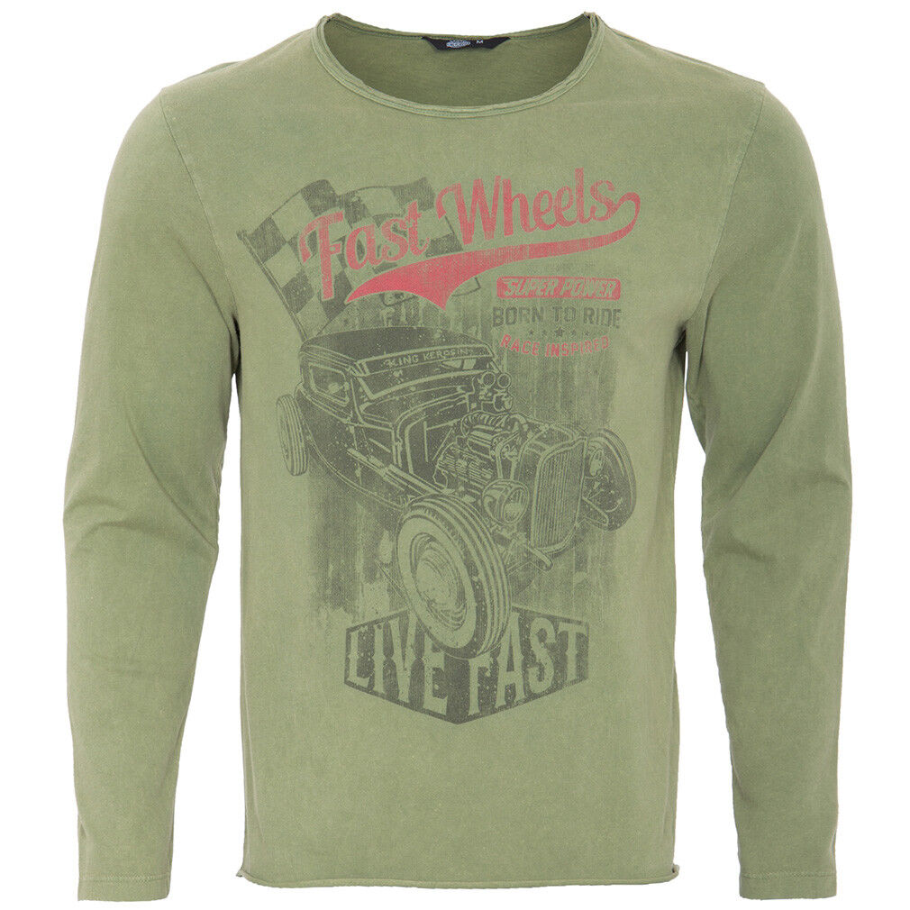 King Kerosin vintage ROCKABILLY retrò manica lunga Top T-shirt Road Power verde