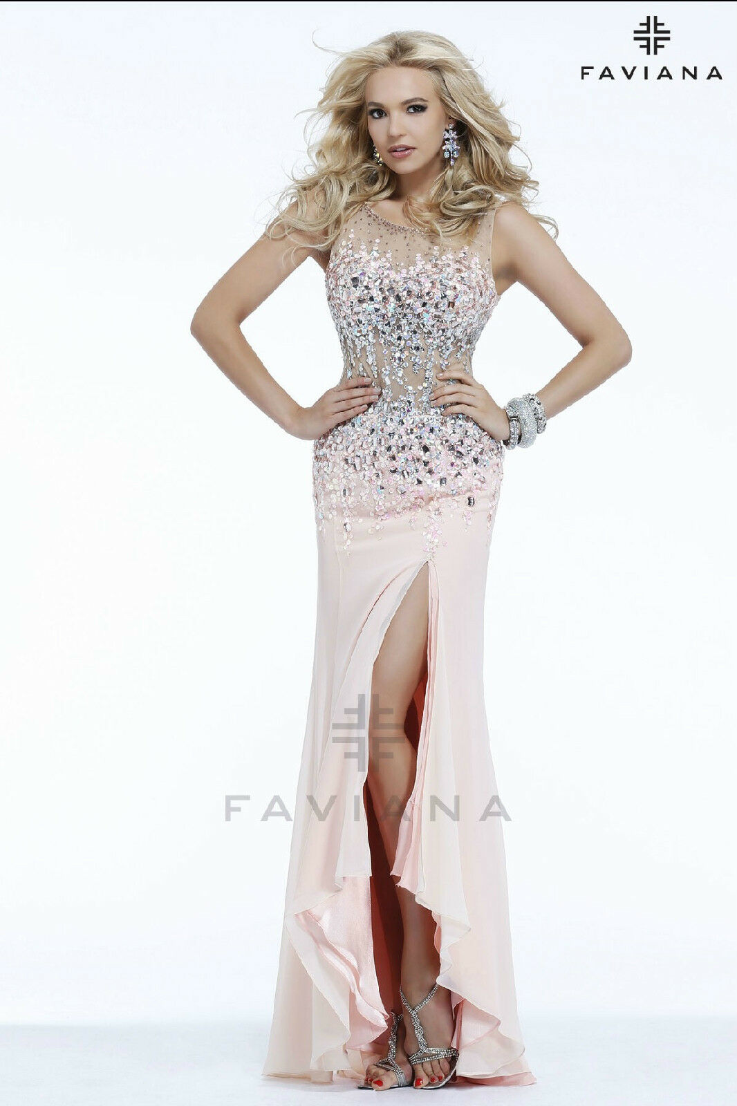 New FAVIANA s7390 Long  bluesh Formal Pageant DRESS GOWN Size 0