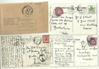 1915/76  4 POSTAGE DUE & INSTRUCTIONAL MARK COVERS  1 TO INDIA MILTARY - SUSSEX