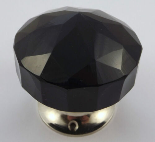 large crystal cut multifaceted Chrome base single Black Glass doorknob