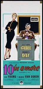 10 IN AMORE LOCANDINA CLARK GABLE DORIS DAY 1957 TEACHER'S PET PLAYBILL POSTER