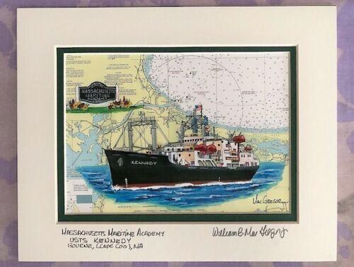 Mass Maritime Academy Nautical Chart Art Print USTS Kennedy Ship Cape Cod Gift