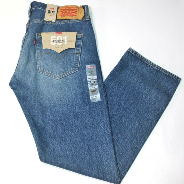 768431f7 Men's Levi's 501 Medium Faded Blue Marrs Straight Leg Button Fly Jeans -  2487