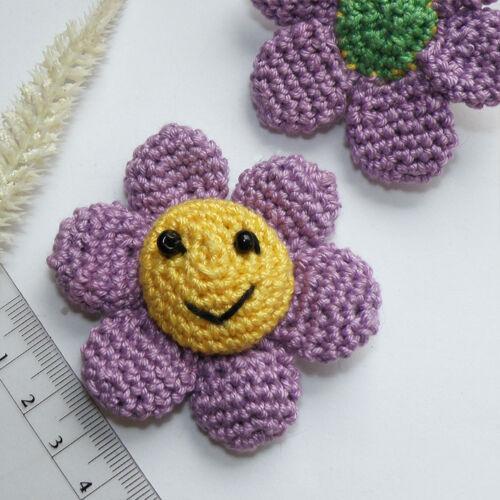 Hecha a mano häkel aplicación Patch trébol coser 7cm 3d flor