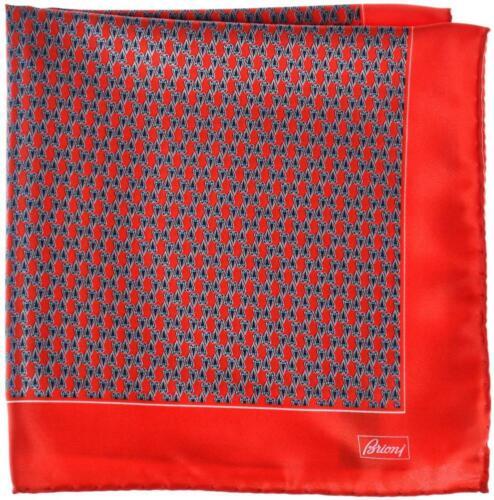 Brioni Pocket Square Handmade Silk Satin Red Blue Geometric 03PS0116 $110