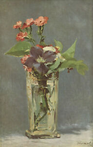 """Edouard Manet - Flowers in a Crystal Vase 1882 Signed - 17"""" x 22"""" Fine Art Print"""