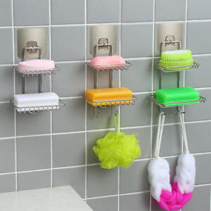 2 Layer Non Rust Suction Stainless Steel Bathroom Shower Soap Dish Holder Rack
