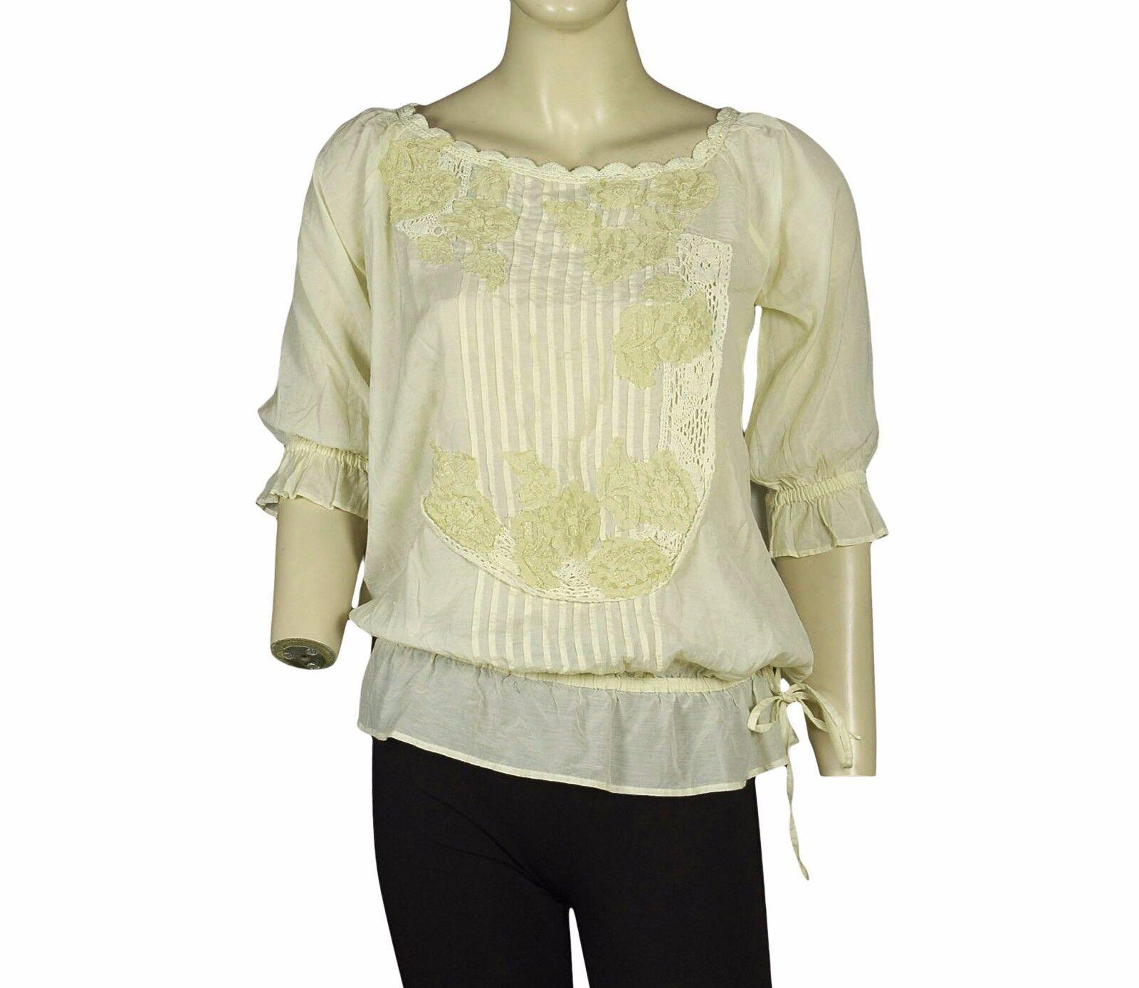 2584 New Twin Set Simona Barbieri Embroidered Beige Cotton Blouse Tunic Top XS