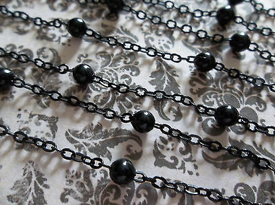 4mm Black Bead Chain - Jet Black Beaded Rosary Chain Qty 42 inch strand (106cm)