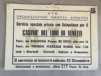 Locandina Anni 50 Ota Turismo Adriatico Auto Pulman Bologna Casino Lido Venezia Ebay