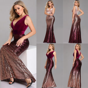 Ever-Pretty-V-neck-Evening-Dress-Long-Sequins-Fishtail-Bodycon-Prom-Gown-07767